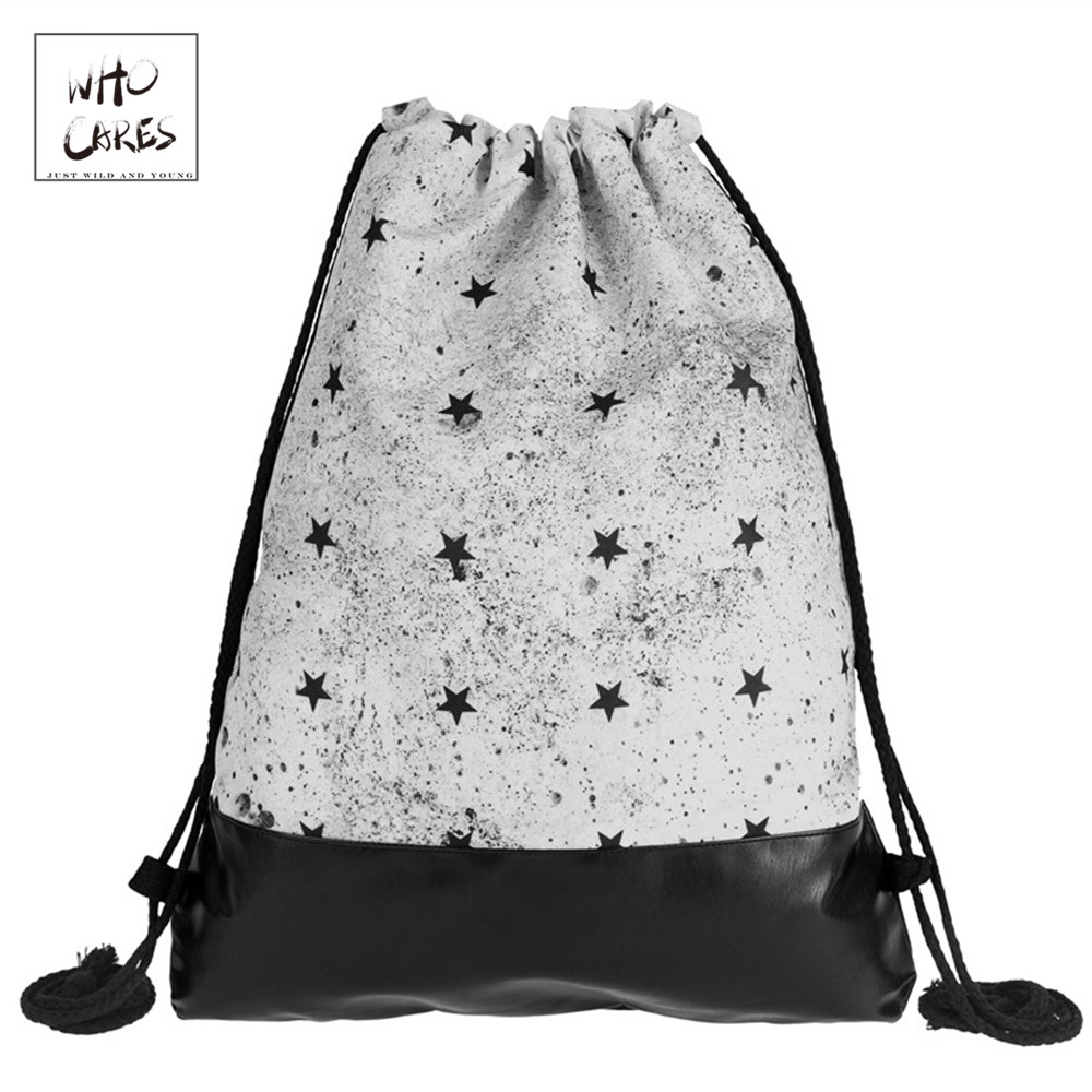Concrete Black Stars Printing Leather Bottom Backpack Women 2018 Brand New Men Travel Leisure Mochila Feminina Drawstring BagConcrete Black Stars Printing Leather Bottom Backpack Women 2018 Brand New Men Travel Leisure Mochila Feminina Drawstring Bag