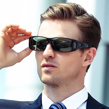 Vazrobe Fit Over Frame Polarized Sunglasses Men Black Driving Sun Glasses for Man Cheap Polarizing Lens Windproof Anti Glare UV anti uv metal frame crossbar flat lens sunglasses