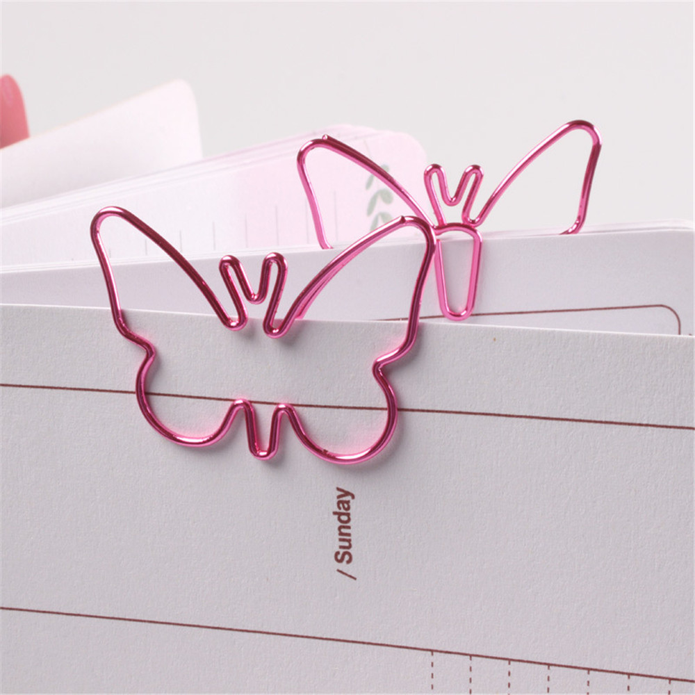 18Pcs Pink Butterfly Shaped Paperclip Cute Metal Paper Clips Kawaii Stationery