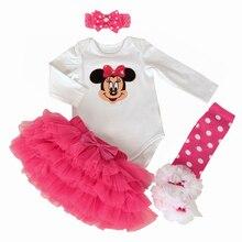 Premier anniversaire cadeau nouveau – né ensemble de vêtements bébé filles robe maille de coton à volants fille robes de baptême 4 pcs body Tutu jupe ensemble