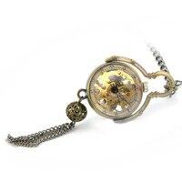 Marrón Steampunk Antiguo Mecánico de la Mano del Viento Relojes de Bolsillo y Fob Relojes de Los Hombres Reloj de Las Mujeres Diseño de ojo de Pez Colgante de Señora regalo
