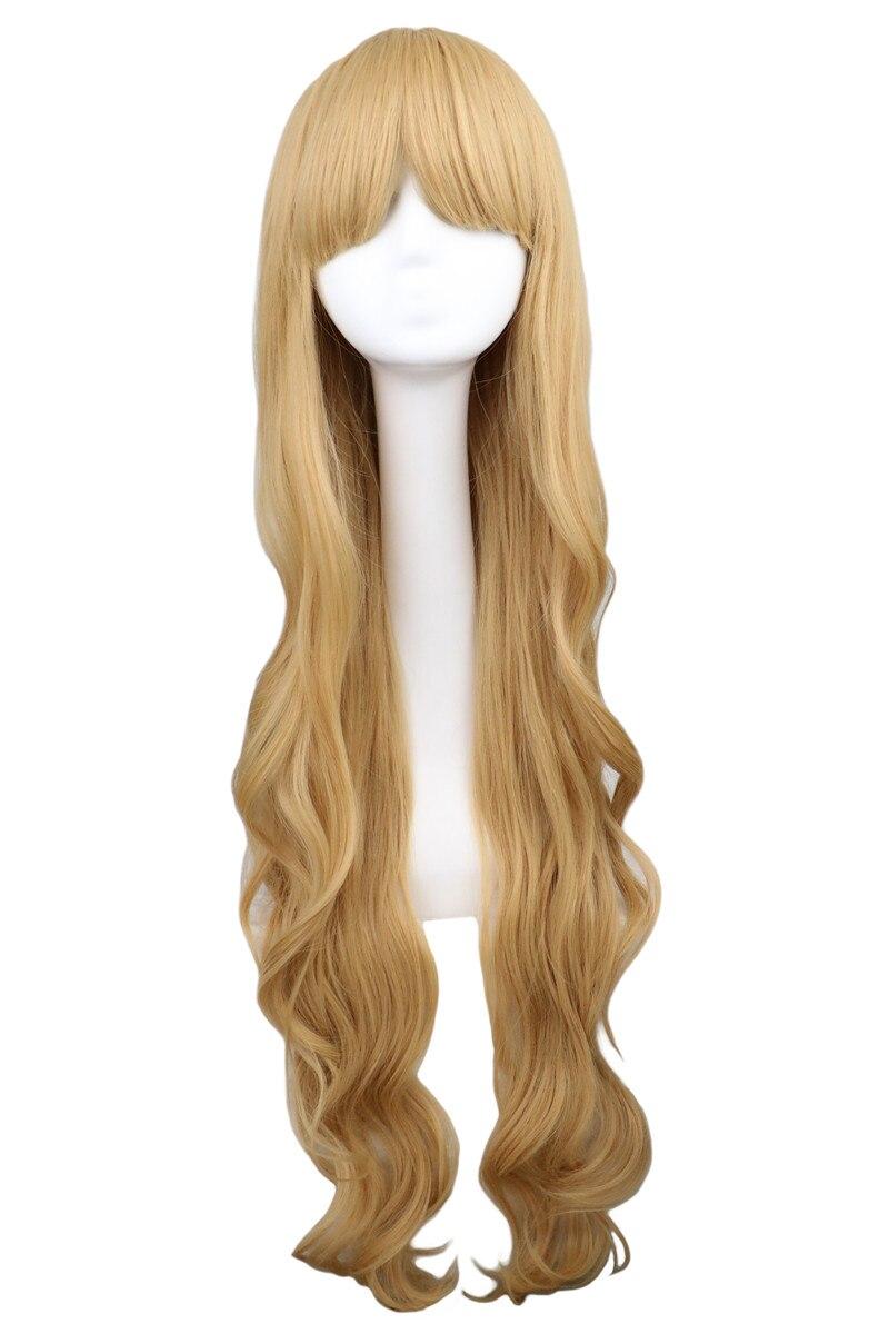 QQXCAIW Kvinnor Flickor Lång Vågig Cosplay Blond 100 Cm Super - Syntetiskt hår - Foto 2