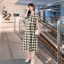 Womens Maxi Dress Retro Casual Short Sleeve Plaid Loose Long Dresses Plus Size Women Clothing
