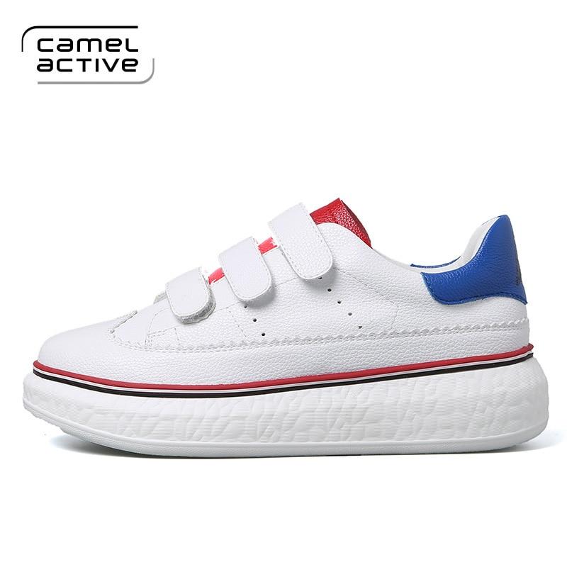 0eb372f92 Moda Camel Sapatos branco Com Loop azul Casuais Mulher Plataforma Couro Pu  Primavera Da Mulheres De ...