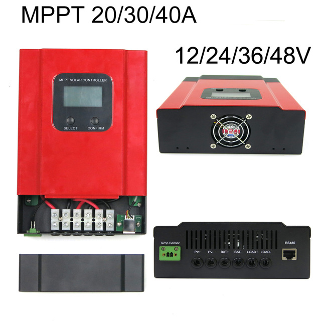 eSmart3-20A 30A 40A MPPT Solar Charge Controller 12V 24V 36V 48V Auto Work LCD Display Max 130V Input RS485 communication