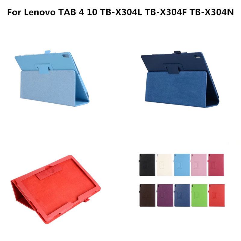 Protective cover PU Leather Case For Lenovo TAB 4 10 ( TAB4 10 ) TB-X304L TB-X304F TB-X304N 10.1 inch Folding Stand Tablet Case ultra thin smart flip pu leather cover for lenovo tab 2 a10 30 70f x30f x30m 10 1 tablet case screen protector stylus pen