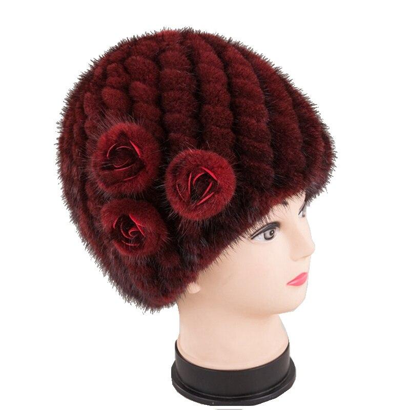 Handmade Women Real Knitted Mink Fur   Skullies     Beanies   Hats Winter Lady Caps Fashion Headgear LF5173