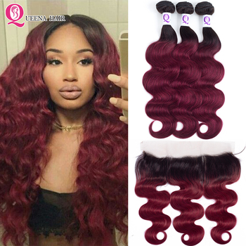 Ombre 1B Burgundy Bundles With Frontal Closure Peruvian Body Wave Human Hair Bundles With Lace Frontal Closure Remy Hair Bundles