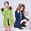 2016 большой меховым воротником зимняя куртка женщин вниз хлопка-ватник куртка средней длины плюс размер утолщение зимнее пальто верхняя одежда женщин