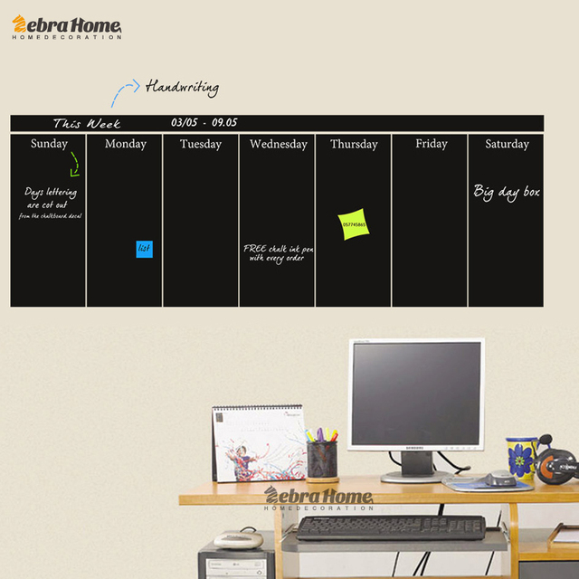 diy weekly planner chalkboard vinyl wall art stickers for office