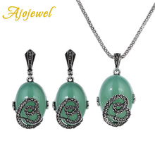 Ajojewel High Quality Rhinestones Love Heart Women Jewelry Set Green Stone Ladies Earring And Necklace Sets Vintage