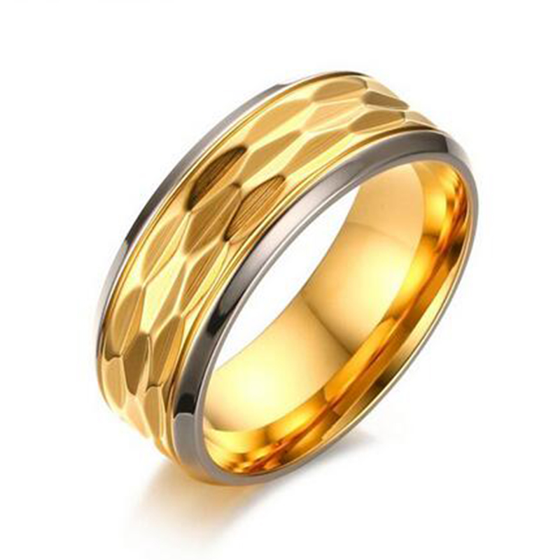Men Gold-Color Engagement Ring 8mm Width Quality Stainless Steel Wedding Band Ring Men Jewelry