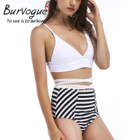 Burvogue Sexy Swimwear Women High Waist Summer Monokini Swimsuit Push Up Stripe Bathing Suit Plus Size