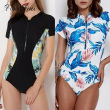 Sexy Short Sleeve Swimsuit One Piece Women Swimwear 2018 Floral Beach Wear Bodysuit Maillot De Bain Femme Surfing Swim Monokini(China)