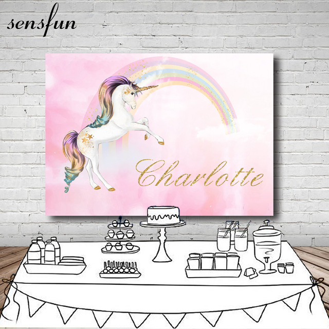 Unicorn Party Photography Backdrop Pink Theme Birthday Newborn Baby Shower Dessert Table Banner Backgrounds Custom Name Date