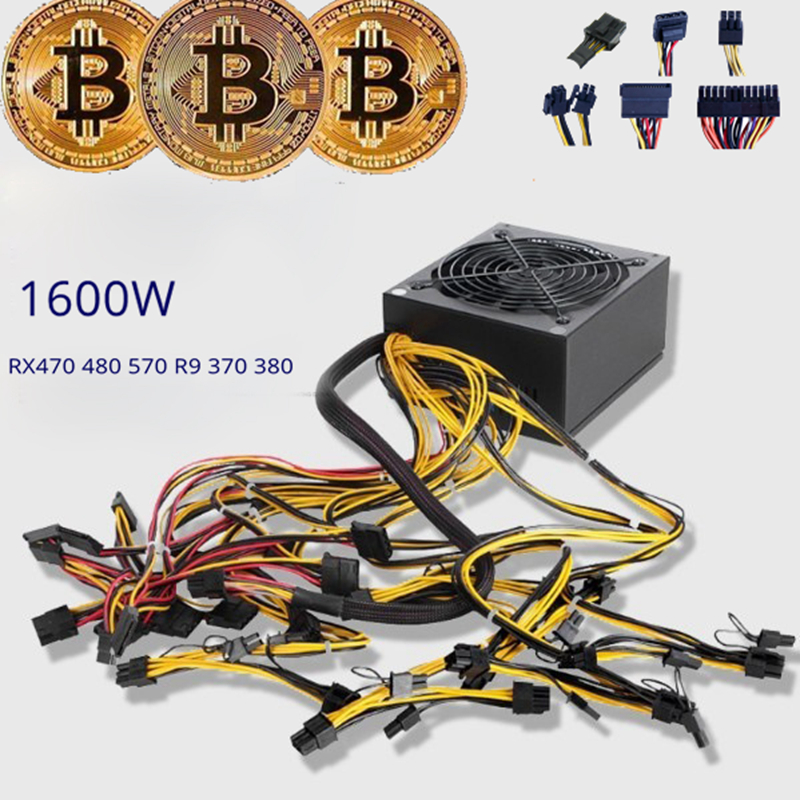 8 gpu mining rig machine 1800W server power supply source for Bitcoin Mining support video Card RX470 RX480 RX580 R9 380 390