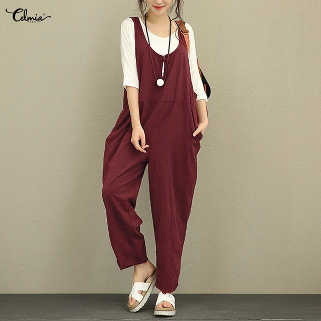 49fe36d54af8 2018 Celmia Vintage Cotton Linen Rompers Womens Jumpsuits Casual Loose  Sleeveless Solid Playsuits Dungarees Overalls Plus