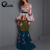 women sexy V neck floral pattern dress lantern sleeve pleated buttons casual maxi Long Pleated Dress Bohemian Slim vestidos 2019