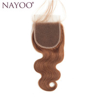 NAYOO Brazilian Body Wave Swiss Lace Closure 10 20 Non Remy Hair 4 4 Top Closure