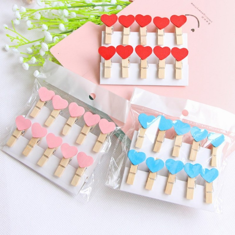 10 Pcs/bag Mini Color Heart Shape Wooden Clip DIY Photo Paper Clips With Hemp Rope Photo Hanging Spring Message Memo Clip