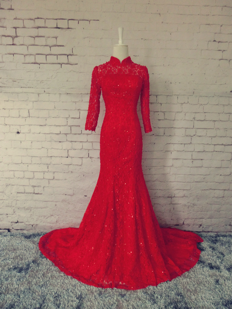 red lace long   prom     dresses   mermaid 2015 new design hot sexy custom sleeves high neck beading evening   dress   vestido de festa