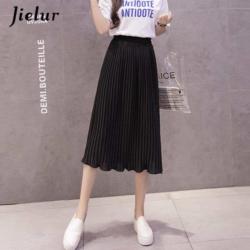 Image 4 - Jielur 6 Colors Korean Fashion Summer Skirt Female Chiffon High Waist Pleated Skirts Womens S XL Harajuku Faldas Mujer Dropship-in Skirts from Women's Clothing