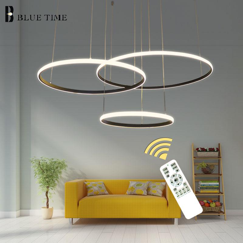 New LED Pendant Lights Modern For Dining Room Living Room 4/3/1 Circle Rings PVC LED Home Lighting Ceiling Lamp Lighting Fixture