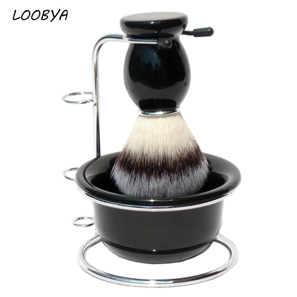 Man Shaving Brush Set Barber Beard Brush Stand Razor Holder Acrylic Bowl for Father Gift