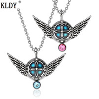 KLDY Uriel Love Couples or Best Friends Angel Wings Archangel Set Charms Sky Blue and Pink Pendant Necklaces Quality assurance