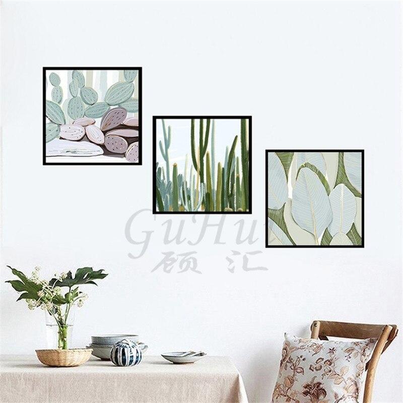 € 3.59 49% de réduction Abstrait aquarelle entrée couloir chambre  aménagement paysager décoration été cactus vert plante modulaire photos-in  Peinture ...