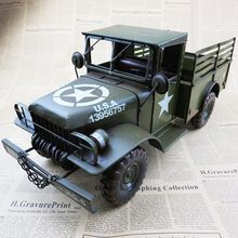 Large military trucks model Iron retro nostalgia decoration furnishing articles high-end business gifts for Father's Day