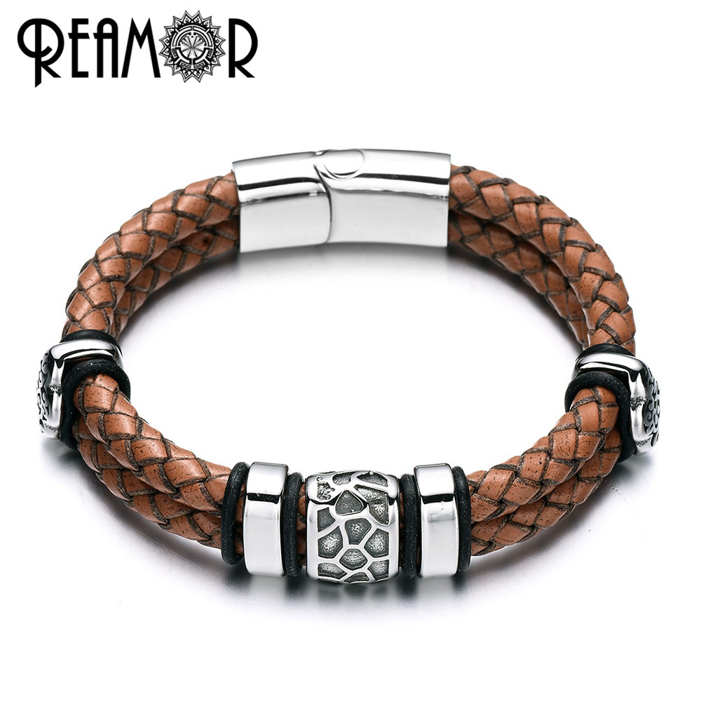 REAMOR 316l Edelstahl Unregelmäßig Geknackt Perle Armband Echten Geflochtenen Leder Männlichen Armbänder & Armreifen männer Schmuck
