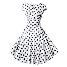 825e2101609 Плюс Размеры Для женщин летнее платье 50 s Винтаж Повседневное элегантный  белый в горошек с v