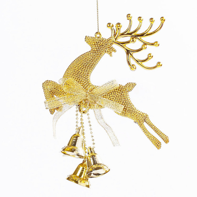 1 pieces gold reindeer with bells pendants christmas ornament hanging decorations xmas baubles for christmas tree - Metal Reindeer Christmas Decorations