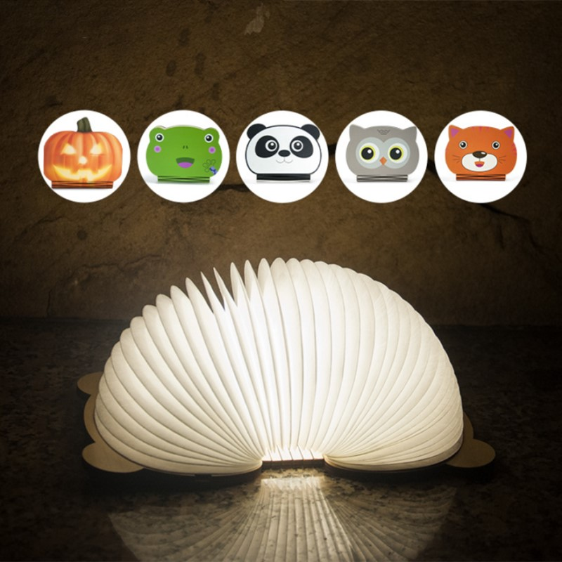 Mini Folding LED Book Light Lamp Portable USB Rechargeable Animal Cartoon Studying Nursery for Bedroom Living Room Lighting