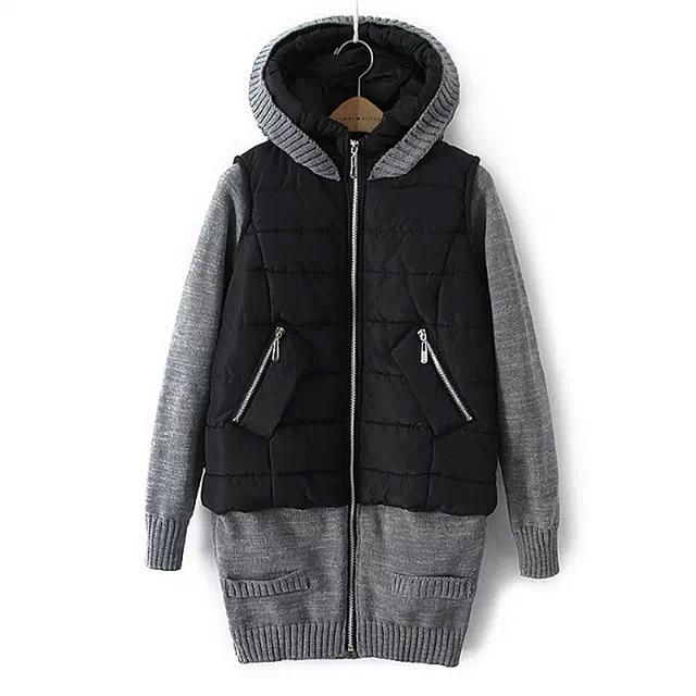 Falsos Two-Piece Mulheres Longa de Algodão-acolchoado Casaco de Inverno Com Capuz Collar Jacket Quente do Sexo Feminino Com Zíper Outerwear 2016 Novo S-XL ZP793