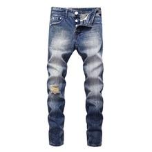 Итальянский стиль мода мужчины джинсы синий винтажный классический кнопки брюки рваные для уличной хип-хоп пуловер
