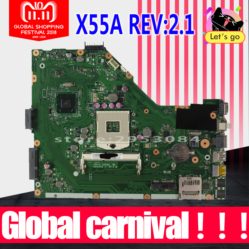 купить X55A Motherboard REV:2.1 /2.2 HM70 DDR3 For ASUS X55A laptop Motherboard X55A Mainboard X55A Motherboard test 100% OK