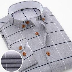 2016 New Oxford Plaid Casual Men's Shirt Slim Fit Formal&Business Occupation Man Shirts Spring Long Sleeve Men Dress Shirt M038 4