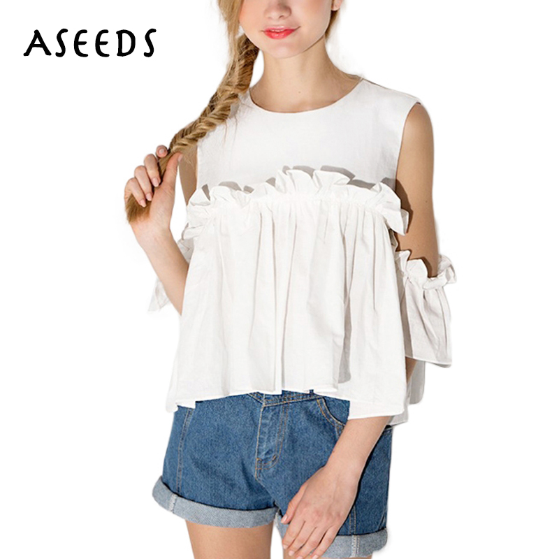 2018 off shoulder womens tops and blouses Ruffle Pleated white shirt Sweet short Sleeve o neck office blouse blusas mujer