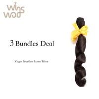 7A Unprocessed WoWigs Brazilian Loose Wave Virgin Hair Mixed 3 Bundles Brazilian More Wavy Loose Curl Virgin Hair Weave Bundles