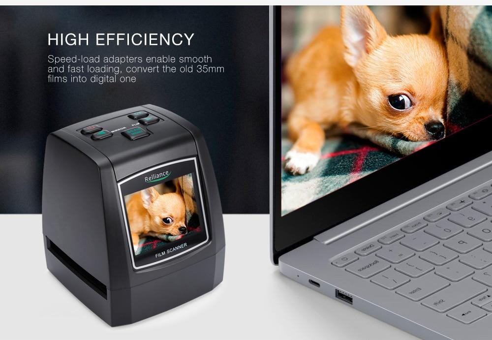 Relliance EC018 Film Scanner High-resolution Film Slide Scanner CMOS 35mm,110/135/126KPK/Super 8 films USB 2.4 TFT LCD Black 15