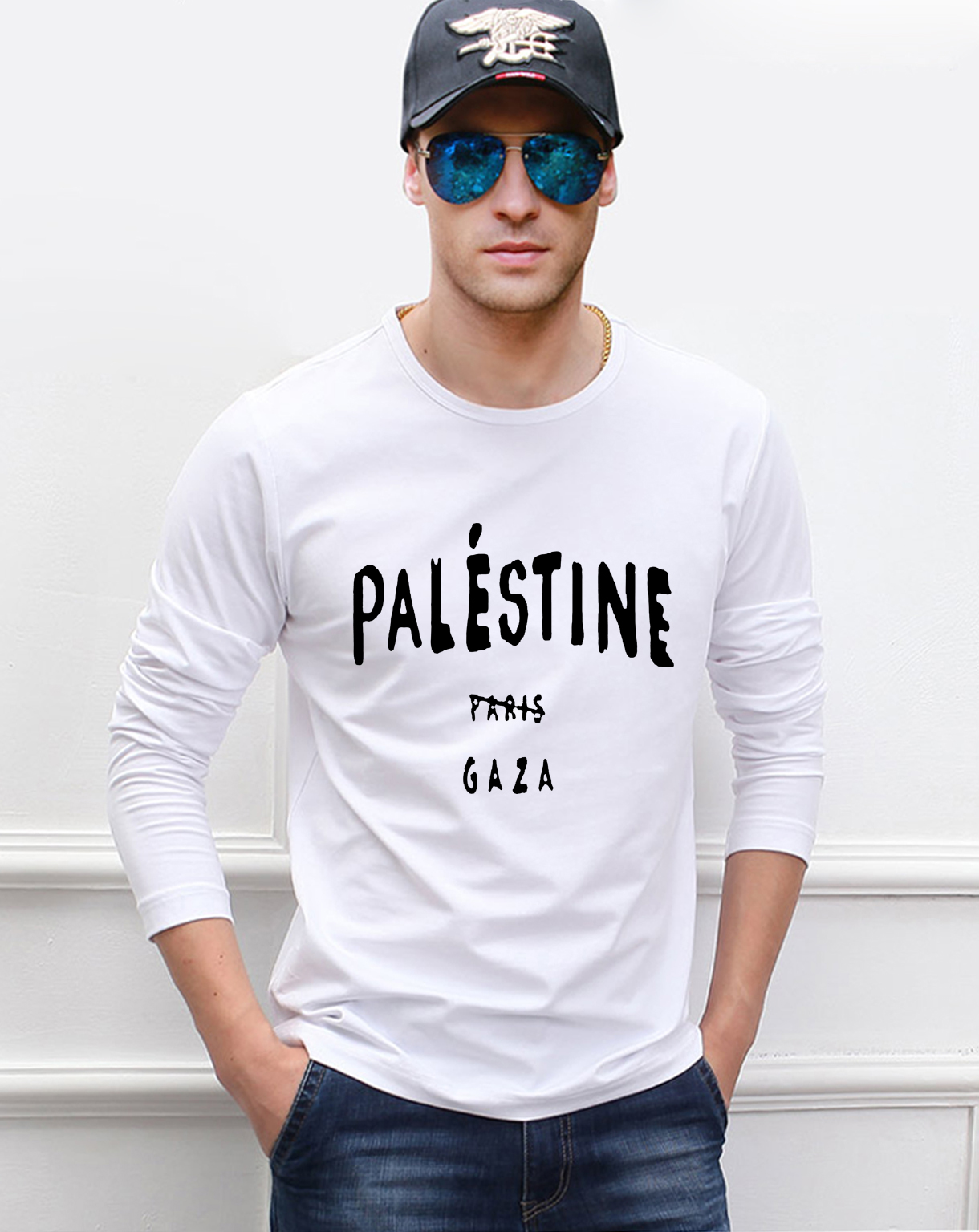 funny men t shirt Gaza Palestine is not blong to Paris men long sleeve t-shirt 2019 spring new 100% cotton high quality top tees