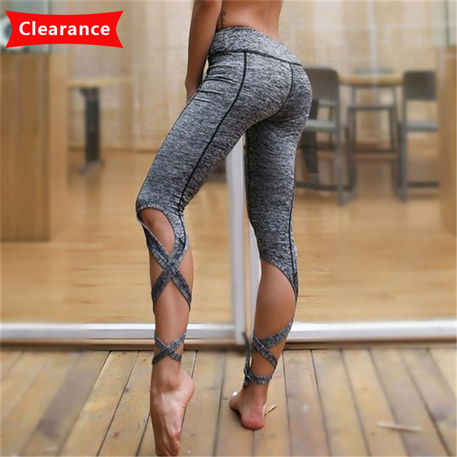 5525fb2cf84b7 Clearance Grey Bandage Ballet Yoga Leggings Pants for Women Sports Tights  US Size Fitness Tights Plus Size