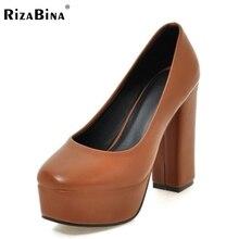 Женская мода Туфли На Высоких Каблуках Женщины Платформа Круглого Toe Насосы Толстые Каблуки Simple Office Comfortble Обувь Размер 34-39
