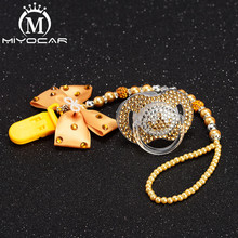 MIYOCAR bow bling rhinestone princess pacifier clip holder dummy and  golden crown idea gift