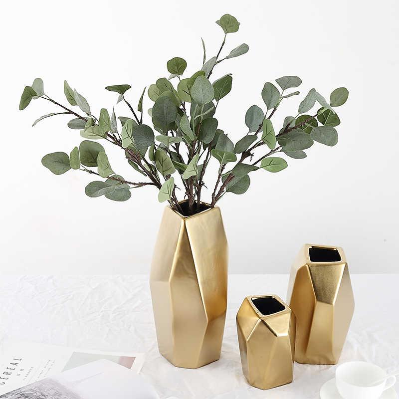 Gold Geometric Flower Vase Centerpiece