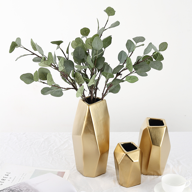 Ermäßigte Gold Geometrische Blume Vase Herzstück Vasen Wohnkultur ...