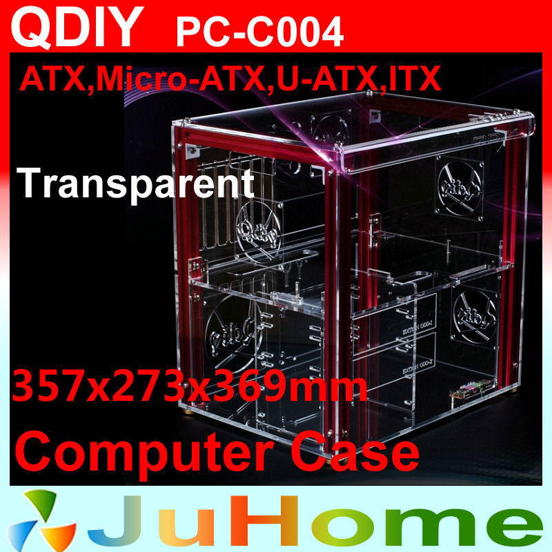 Luxury DIY horizontal transparent PC case, acrylic,  Support ATX, M-ATX, personalized fashion PC case, QDIY PC-C004 qdiy fz tm80c personalized computer case 80mm matte transparent colored lamp cooling fan