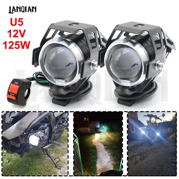 Universal Motorcycle LED Light U5 12V Auxiliary Lamp Driving headlight DRL Fog Light For BMW R1200RT S1000R F800GT Accessories 6 5inch universal retro motorcycle modification led headlight lamp with guard cover yellow driving light gn125 250